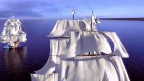 Oude schepen in een rivier vector illustratie
