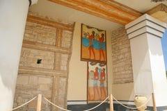 Oude schilderijen in Knossos Kreta Stock Foto's