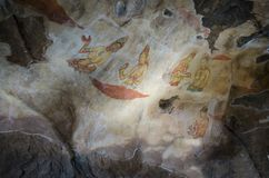 Oude schilderijen in Sirigiya. Sri Lanka Stock Fotografie