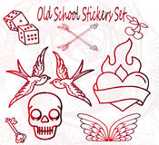 Oude Schoolstickers - Beeldverhaalstijl Royalty-vrije Stock Foto's