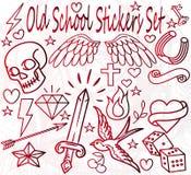 Oude schoolstickers - rode gradiënt, idee van een tatoegering Royalty-vrije Stock Foto's