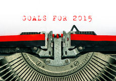 Oude schrijfmachine met de DOELSTELLINGEN van de steekproeftekst VOOR 2015 Stock Afbeeldingen