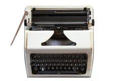 Oude schrijfmachine op wit geïsoleerde achtergrond retro stijl en Antiquiteiten stock fotografie