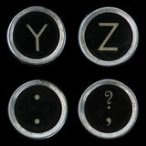 Oude schrijfmachineY Z sleutels Royalty-vrije Stock Foto