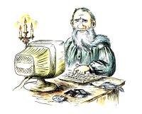 Oude schrijver achter de computer royalty-vrije illustratie