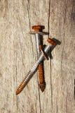 Oude schroeven op hout Royalty-vrije Stock Afbeeldingen