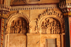 Oude sculpures in de het paleis darbhar zaal van thanjavurmaratha Royalty-vrije Stock Foto