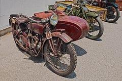 Oude sidecar motorfiets Indische Verkenner Side 600 CC 1923 royalty-vrije stock afbeeldingen