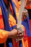 Oude Sikh Mens met zwaard Kirpan stock foto