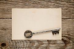Oude sleutel en prentbriefkaar Royalty-vrije Stock Afbeelding