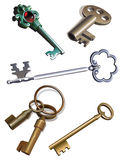 Oude sleutels stock illustratie
