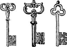 Oude sleutels royalty-vrije illustratie