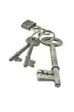 Oude sleutels met minihangslot Royalty-vrije Stock Foto