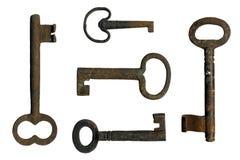Oude sleutels op een witte achtergrond Stock Foto