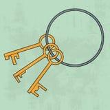 Oude sleutelsbos pictogram Vector illustratie Royalty-vrije Stock Afbeeldingen