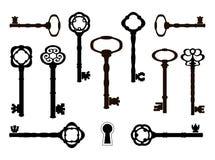 Oude sleutelssilhouetten Retro ontwerp Royalty-vrije Stock Fotografie