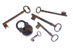 Oude slot en sleutels Stock Afbeelding