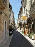 Oude smalle straat, Verona, Italië Stock Foto