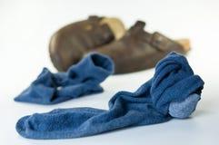 Oude sokken royalty-vrije stock afbeeldingen