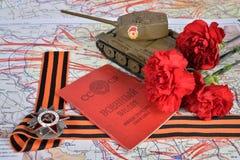 Oude Sovjet militaire identiteitskaart, orde van de Patriottische Oorlog in St Georg Royalty-vrije Stock Afbeelding