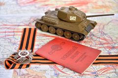 Oude Sovjet militaire identiteitskaart, orde van de Patriottische Oorlog in St George Royalty-vrije Stock Fotografie