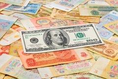 Oude sovjet Russische geld en dollar Stock Afbeeldingen