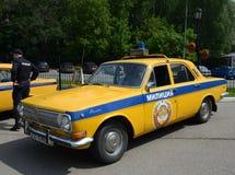 Oude Sovjetpolitiewagen gaz-24 ` Volga ` Royalty-vrije Stock Afbeeldingen