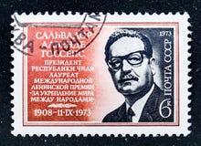 Oude sovjetpostzegel royalty-vrije stock foto