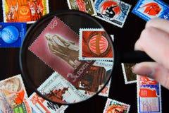 Oude Sovjetpostzegels royalty-vrije stock afbeelding