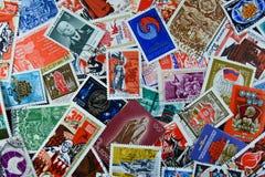 Oude Sovjetpostzegels stock afbeeldingen