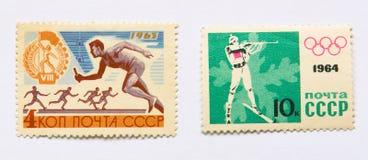 Oude sovjetpostzegels, sporten royalty-vrije stock foto