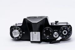 Oude Sovjetzenit TTL 35 die mm-filmcamera op wit wordt geïsoleerd Stock Foto's