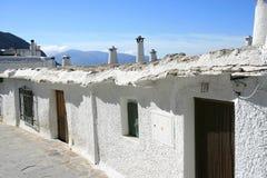 Oude Spaanse middeleeuwse huizen in Bubion, Spanje Stock Foto
