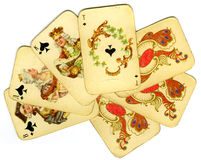 Oude speelkaarten Royalty-vrije Stock Afbeeldingen