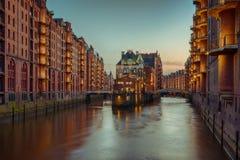 Oude Speicherstadt in Hamburg Stock Foto's