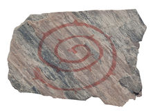 Oude spiraalvormige rotstekening Stock Foto's