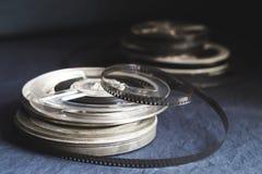 Oude spoelen met zwart-witte film Royalty-vrije Stock Foto's