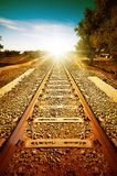 Oude spoorweg aan zonlicht Stock Fotografie