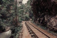 Oude spoorweg of spoorwegweg in berglandschap royalty-vrije stock afbeelding