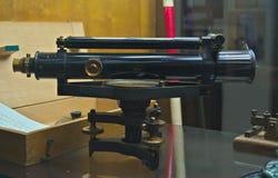 Oude spoorwegmonocular op vertoning in het spoormuseum van Belgrado Stock Foto