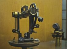 Oude spoorwegmonocular op vertoning in het spoormuseum van Belgrado Royalty-vrije Stock Foto's