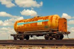 Oude spoorwegtank, Baikonur, Kazachstan stock foto's