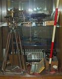 Oude spoorweguitrusting op vertoning in het spoormuseum van Belgrado Royalty-vrije Stock Afbeelding
