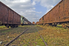 Oude spoorwegwagens Royalty-vrije Stock Foto's