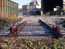 Oude sporen industriezone Stock Afbeelding