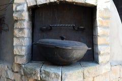 Oude staalkom voor het koken Royalty-vrije Stock Foto