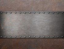 Oude staalplaque op van het roestmetaal 3d illustratie als achtergrond Royalty-vrije Stock Afbeeldingen
