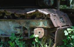 Oude staalwielen stock afbeelding