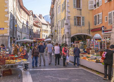 Oude stad Annecy Stock Afbeelding