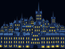 Oude stad bij nacht Royalty-vrije Stock Fotografie